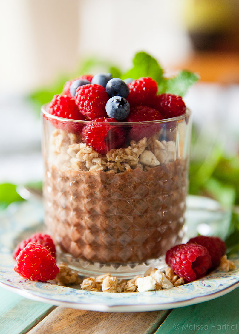Chocolate Chia Seed Pudding with Fruit | One in the Kitchen