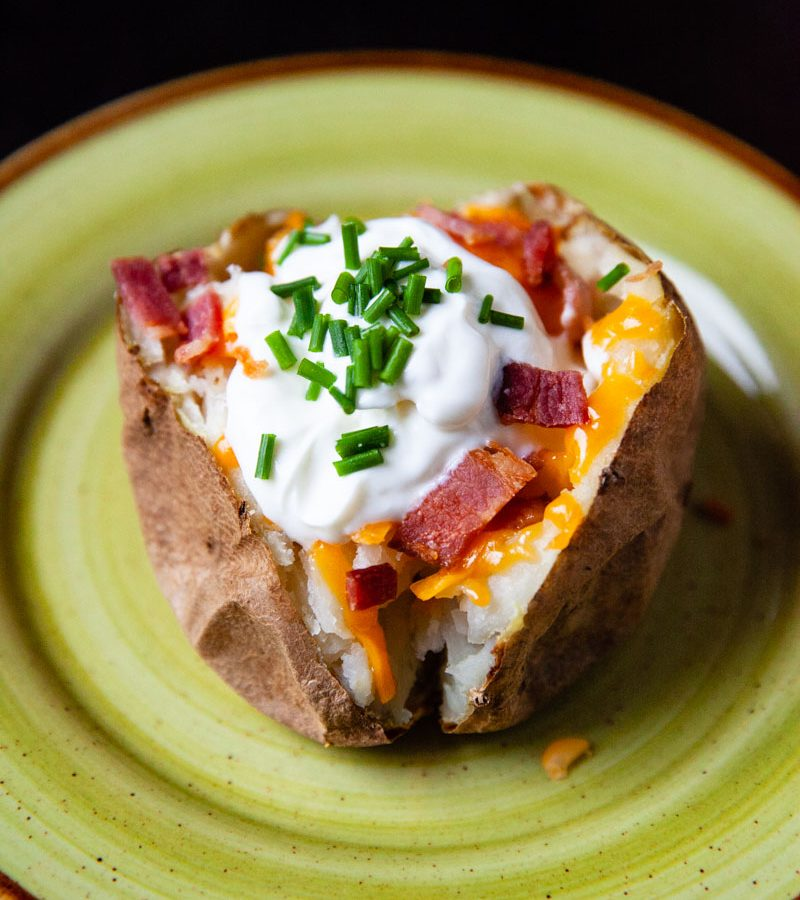 Baked Potato with Cheese on Bacon
